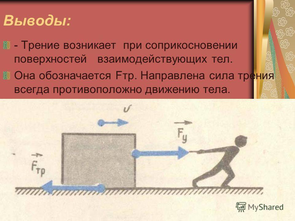 Выводы: - Трение возникает при соприкосновении поверхностей взаимодействующих тел. Она обозначается Fтр. Направлена сила трения всегда противоположно движению тела.
