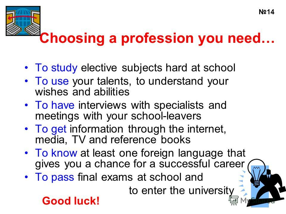 Choosing a profession you need… To study elective subjects hard at school To use your talents, to understand your wishes and abilities To have interviews with specialists and meetings with your school-leavers To get information through the internet,