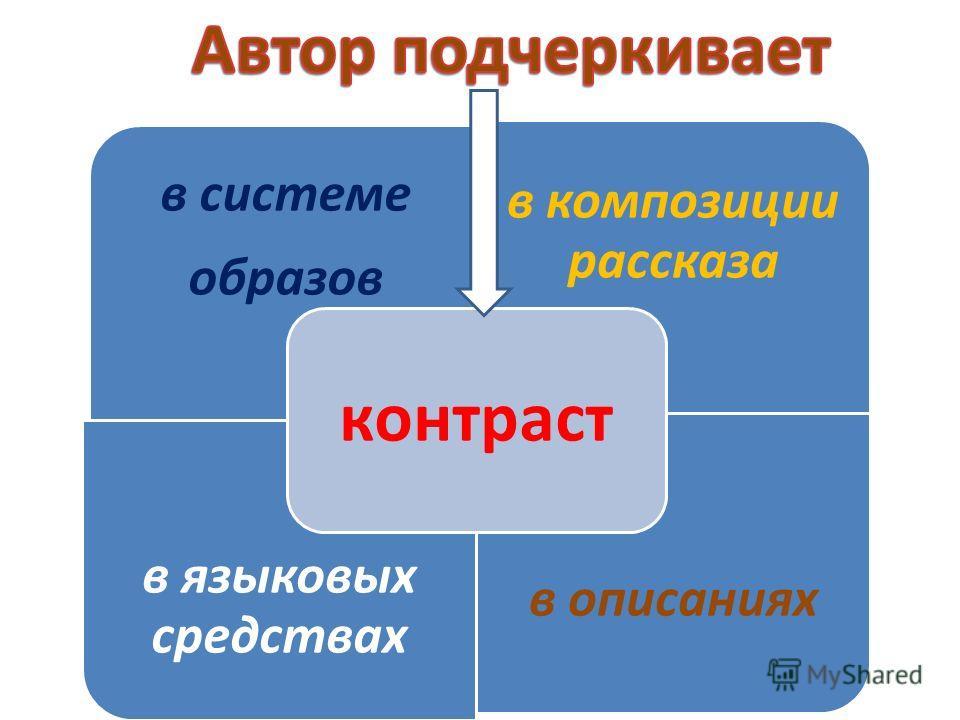 в системе образов в композиции рассказа в языковых средствах в описаниях контраст