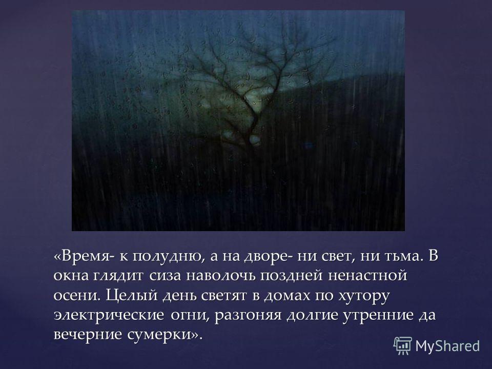«Время- к полудню, а на дворе- ни свет, ни тьма. В окна глядит сиза наволочь поздней ненастной осени. Целый день светят в домах по хутору электрические огни, разгоняя долгие утренние да вечерние сумерки».