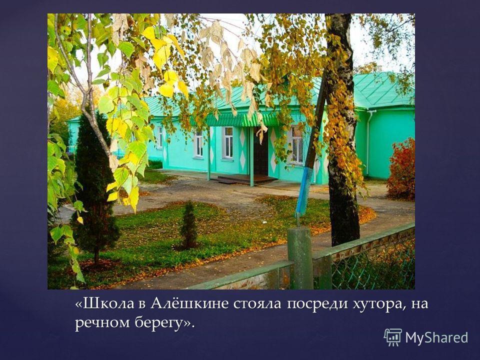 «Школа в Алёшкине стояла посреди хутора, на речном берегу».