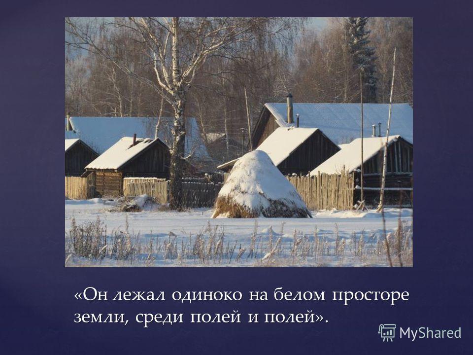«Он лежал одиноко на белом просторе земли, среди полей и полей».