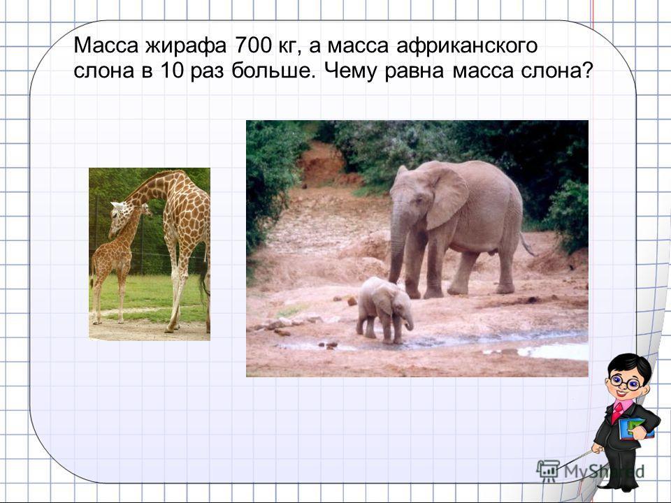 Масса жирафа 700 кг, а масса африканского слона в 10 раз больше. Чему равна масса слона?