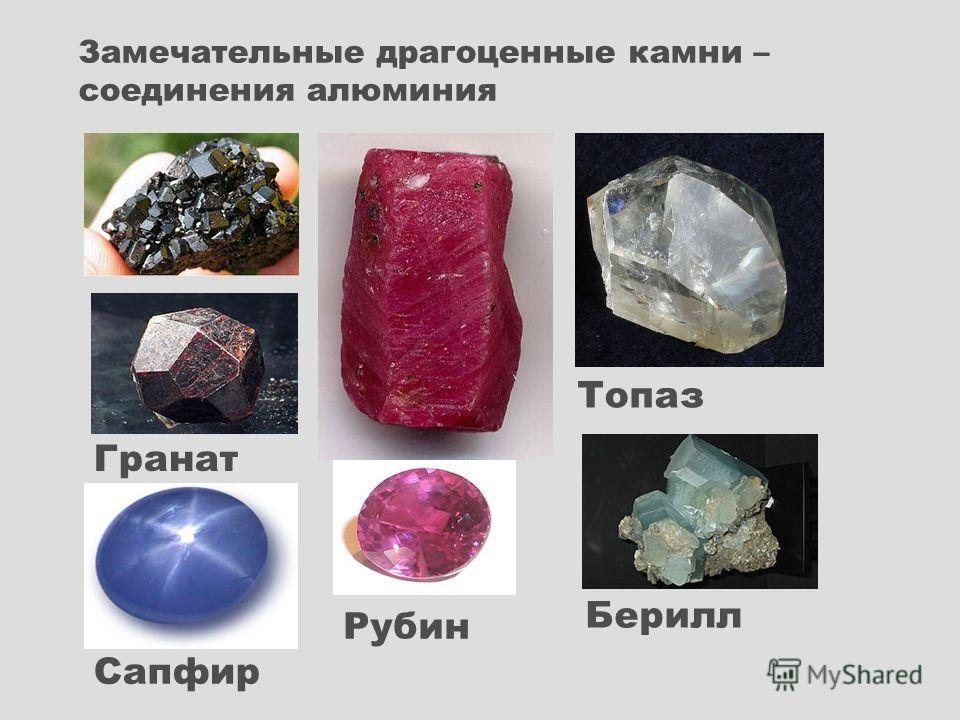 Рубин Топаз Берилл Гранат Сапфир Замечательные драгоценные камни – соединения алюминия