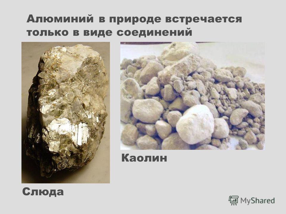 Каолин Слюда Алюминий в природе встречается только в виде соединений