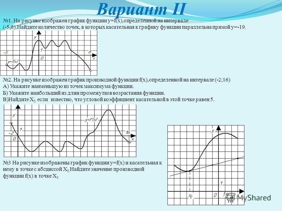 Вариант II 1. На рисунке изображен график функции y=f(x),определенной на интервале (-5;8).Найдите количество точек, в которых касательная к графику функции параллельна прямой y=-19. 2. На рисунке изображен график производной функции f(x),определенной