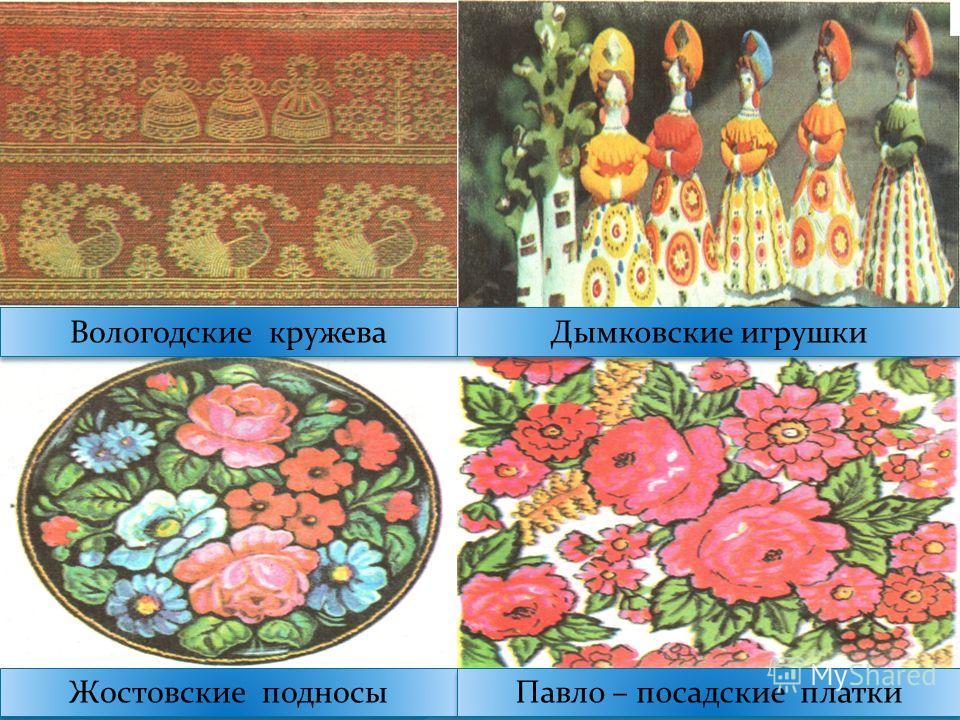 Вологодские кружева Дымковские игрушки Жостовские подносы Павло – посадские платки