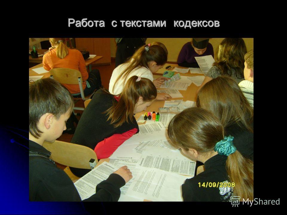 Работа с текстами кодексов