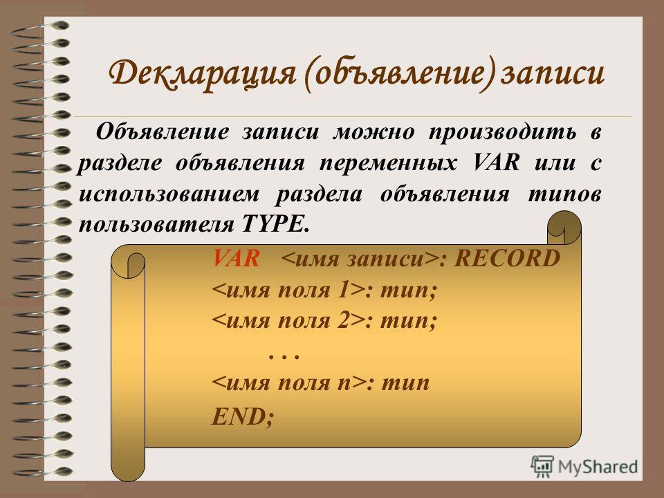 Декларация (объявление) записи Объявление записи можно производить в разделе объявления переменных VAR или с использованием раздела объявления типов пользователя TYPE. VAR : RECORD : тип;... : тип END;