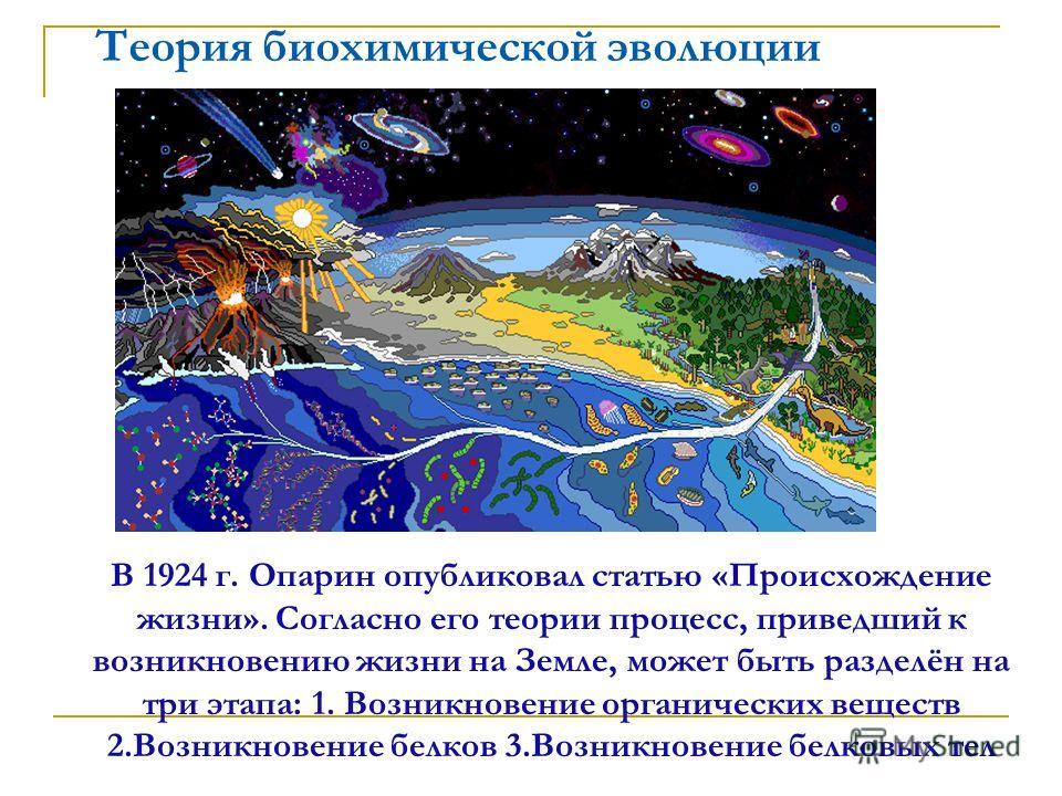 Теория биохимической эволюции В 1924 г. Опарин опубликовал статью «Происхождение жизни». Согласно его теории процесс, приведший к возникновению жизни на Земле, может быть разделён на три этапа: 1. Возникновение органических веществ 2.Возникновение бе