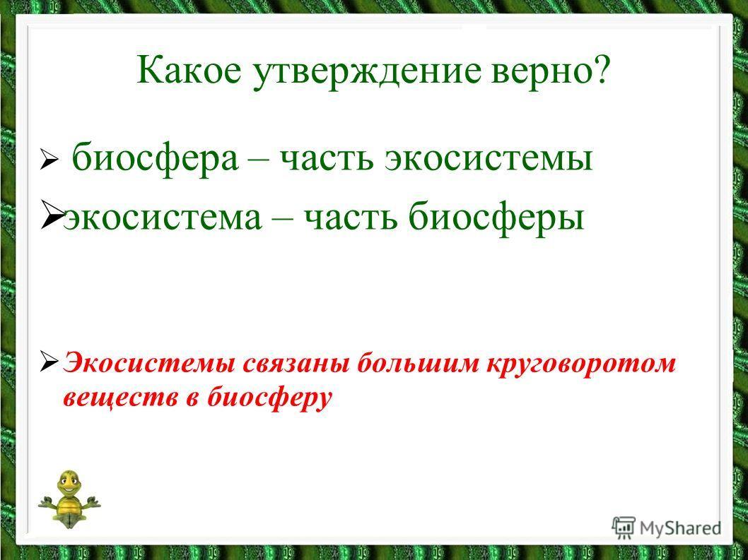 Какое утверждение верно? биосфера – часть экосистемы экосистема – часть биосферы Экосистемы связаны большим круговоротом веществ в биосферу