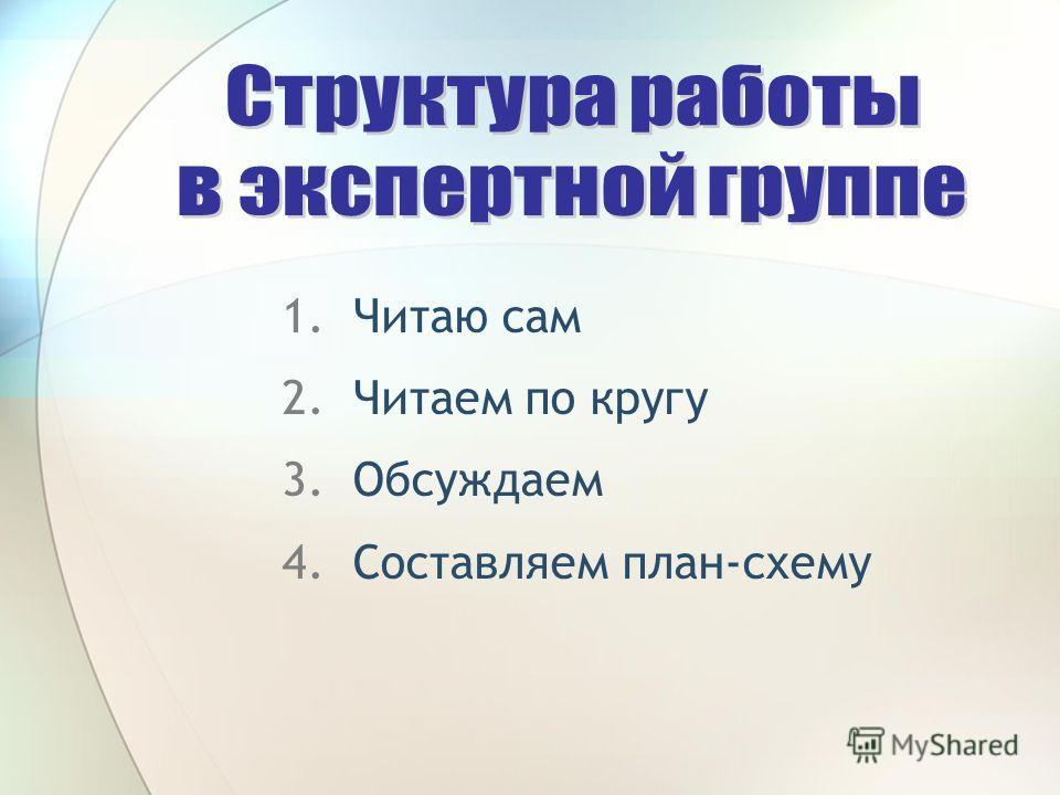 1.Читаю сам 2.Читаем по кругу 3.Обсуждаем 4.Составляем план-схему