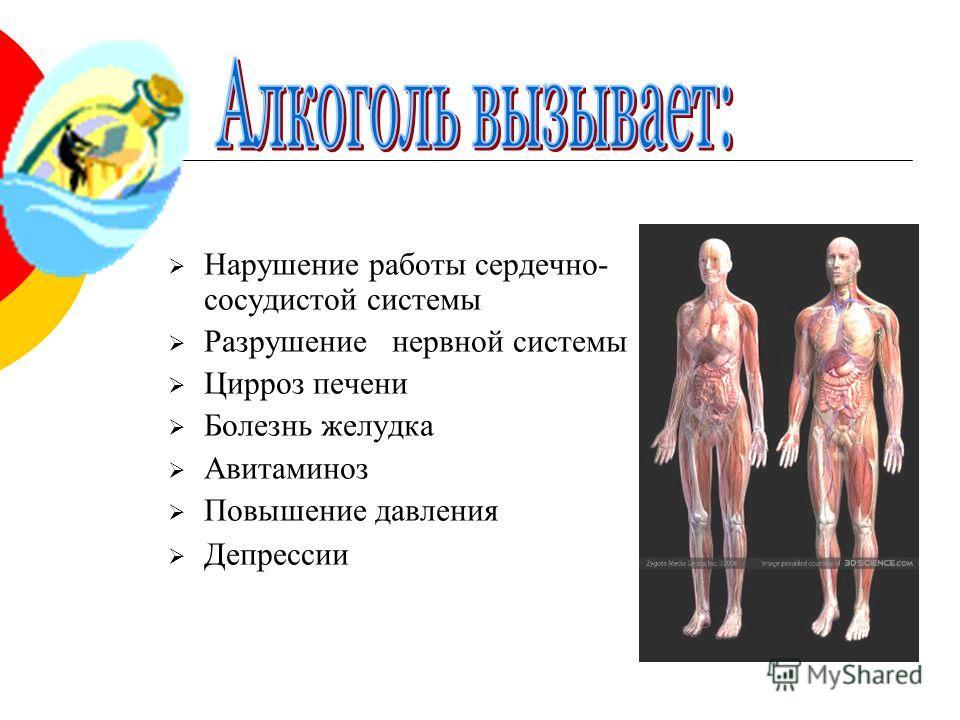 Нарушение работы сердечно- сосудистой системы Разрушение нервной системы Цирроз печени Болезнь желудка Авитаминоз Повышение давления Депрессии