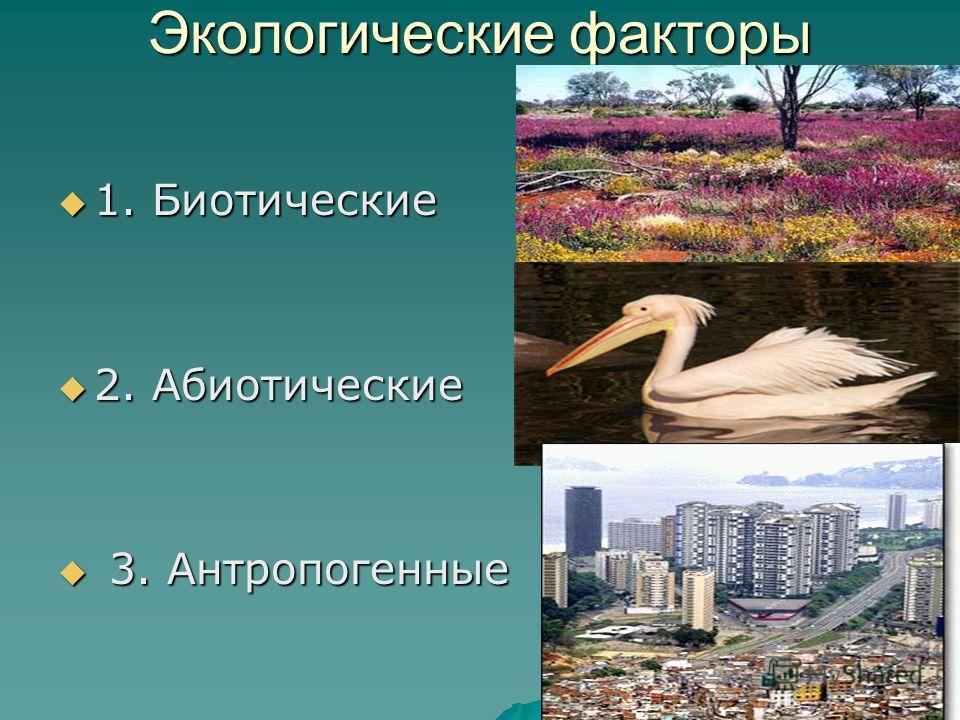 Экологические факторы 1. Биотические 1. Биотические 2. Абиотические 2. Абиотические 3. Антропогенные 3. Антропогенные