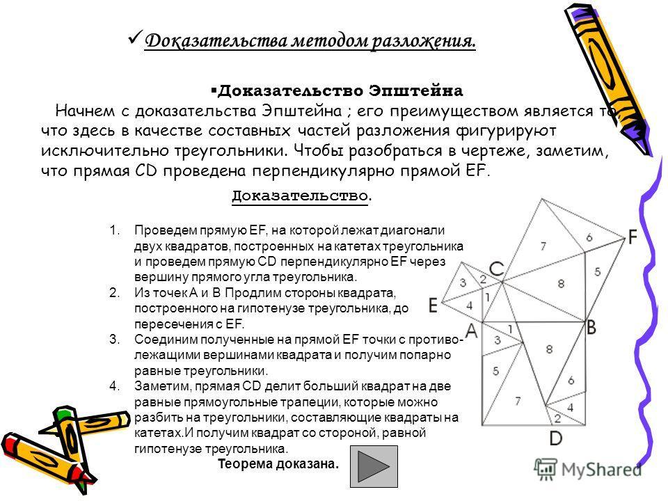 Доказательства методом разложения. Доказательство Эпштейна Начнем с доказательства Эпштейна ; его преимуществом является то, что здесь в качестве составных частей разложения фигурируют исключительно треугольники. Чтобы разобраться в чертеже, заметим,