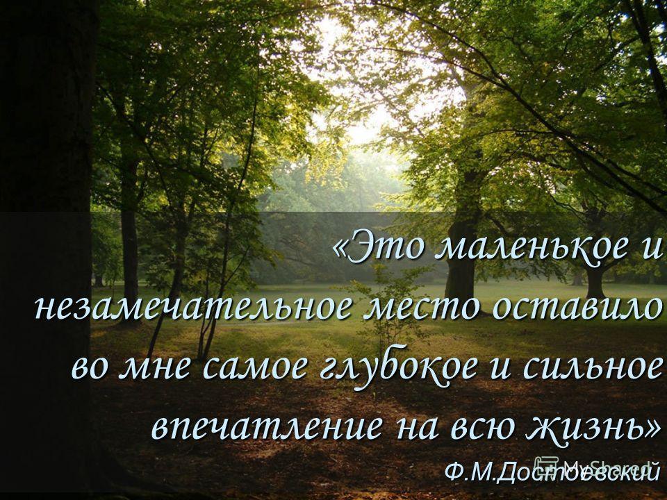 «Это маленькое и незамечательное место оставило во мне самое глубокое и сильное впечатление на всю жизнь» Ф.М.Достоевский