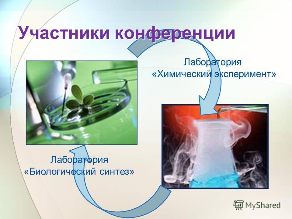 Участники конференции Лаборатория «Биологический синтез» Лаборатория «Химический эксперимент»