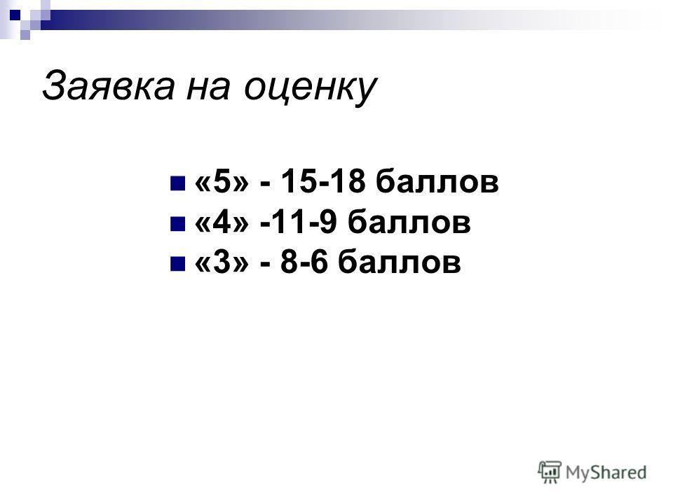 Заявка на оценку «5» - 15-18 баллов «4» -11-9 баллов «3» - 8-6 баллов