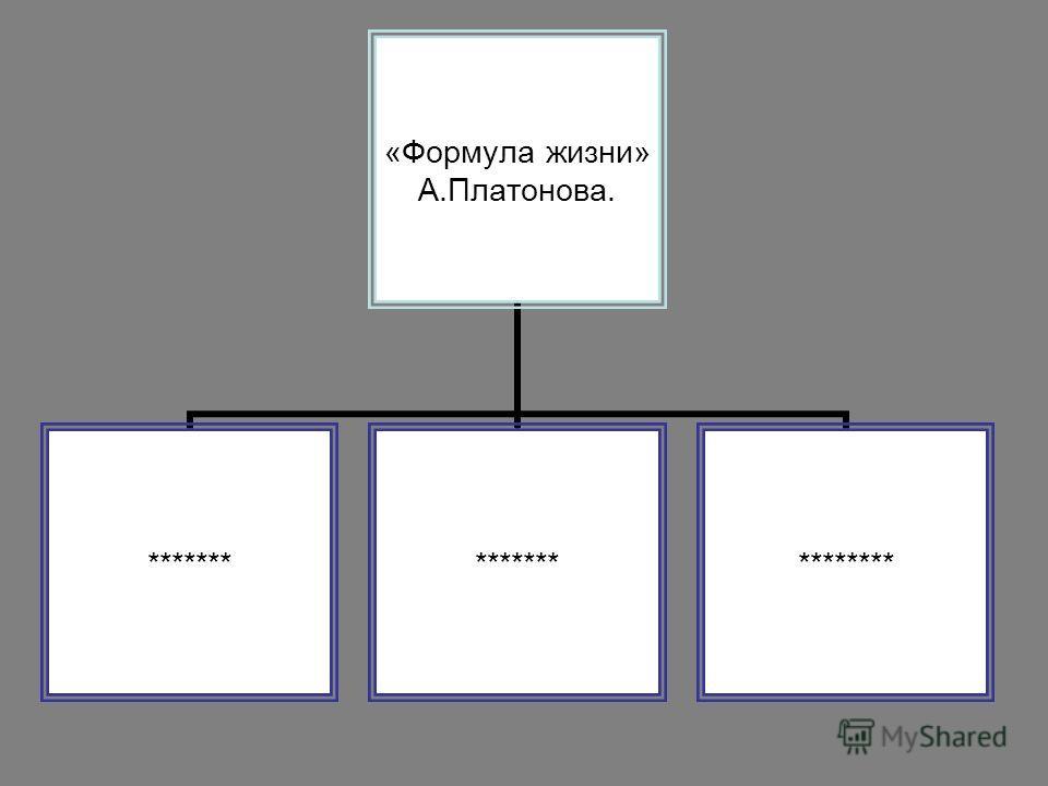 «Формула жизни» А.Платонова. ******* ********