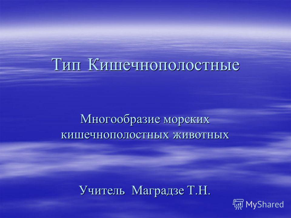Тип Кишечнополостные Многообразие морских кишечнополостных животных Учитель Маградзе Т.Н.