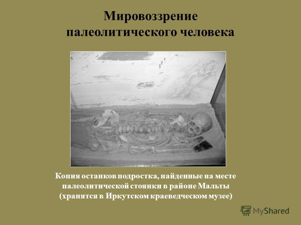 Мировоззрение палеолитического человека Копия останков подростка, найденные на месте палеолитической стоянки в районе Мальты (хранятся в Иркутском краеведческом музее)