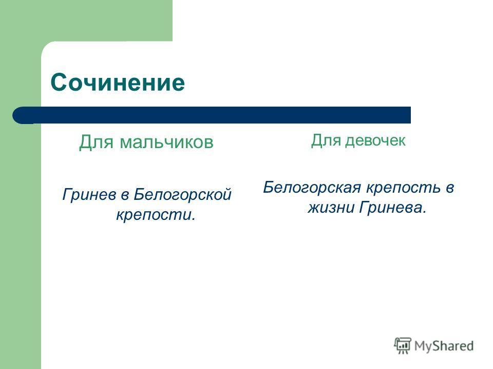 Сочинение Для мальчиков Гринев в Белогорской крепости. Для девочек Белогорская крепость в жизни Гринева.