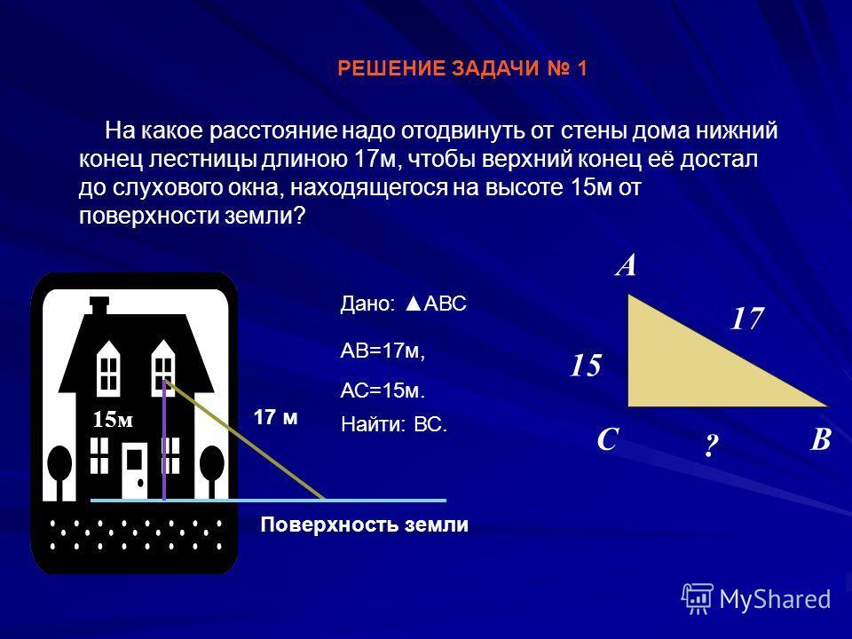 РЕШЕНИЕ ЗАДАЧИ 1 На какое расстояние надо отодвинуть от стены дома нижний конец лестницы длиною 17м, чтобы верхний конец её достал до слухового окна, находящегося на высоте 15м от поверхности земли? 15 ? 17 Поверхность земли 17 м 15м С А В Дано: АВС