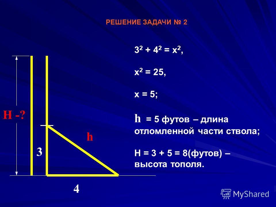 РЕШЕНИЕ ЗАДАЧИ 2 3 2 + 4 2 = x 2, х 2 = 25, х = 5; h = 5 футов – длина отломленной части ствола; Н = 3 + 5 = 8(футов) – высота тополя. 3 4 h Н -?