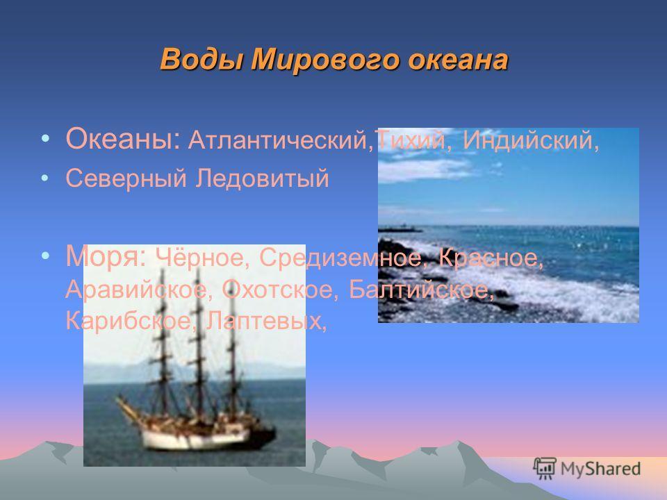Воды Мирового океана Океаны: Атлантический,Тихий, Индийский, Северный Ледовитый Моря: Чёрное, Средиземное, Красное, Аравийское, Охотское, Балтийское, Карибское, Лаптевых,