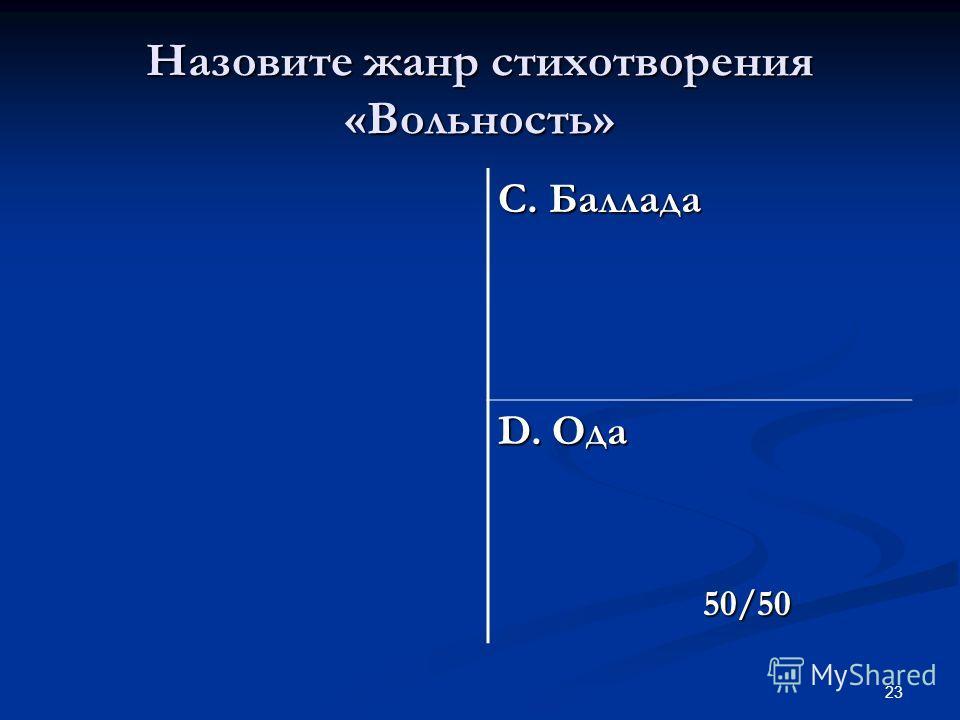 23 Назовите жанр стихотворения «Вольность» С. Баллада D. Ода 50/50 50/50