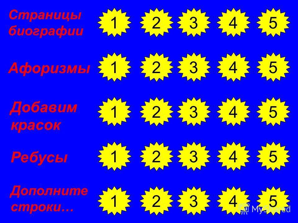 23451 Страницы биографии 1 1 1 1 2345 2345 2345 2345 Добавим красок Ребусы Дополните строки… Афоризмы