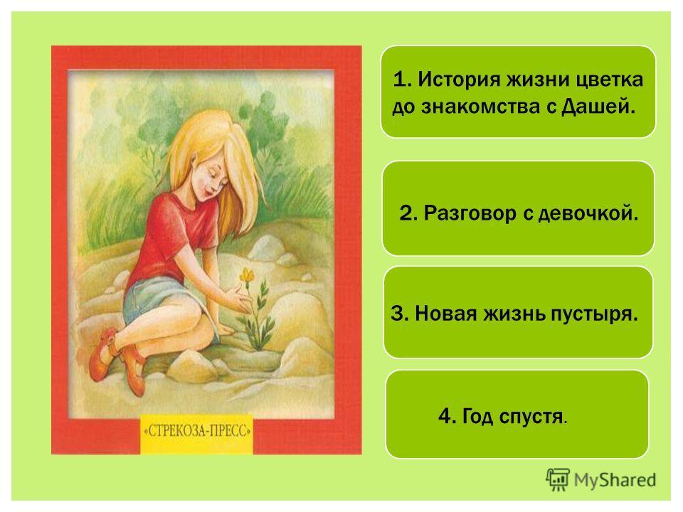 1. История жизни цветка до знакомства с Дашей. 2. Разговор с девочкой. 3. Новая жизнь пустыря. 4. Год спустя.
