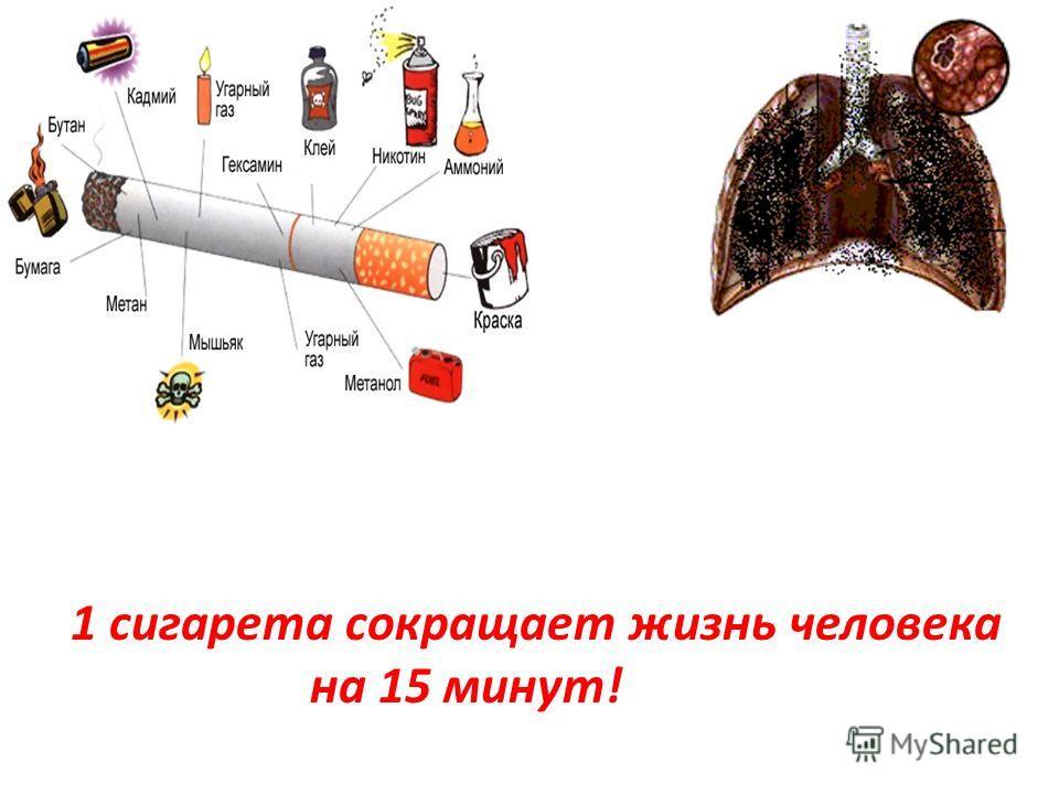 1 сигарета сокращает жизнь человека на 15 минут!