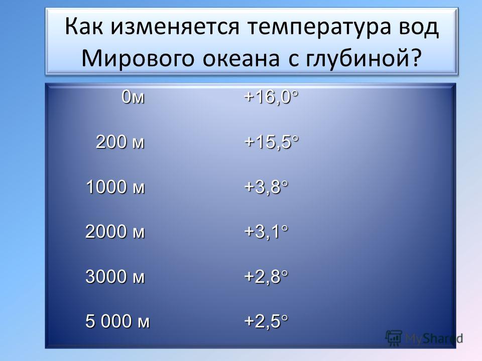 Как изменяется температура вод Мирового океана с глубиной? 0м +16,0° 200 м +15,5° 0м +16,0° 200 м +15,5° 1000 м +3,8° 2000 м +3,1° 3000 м +2,8° 5 000 м +2,5°