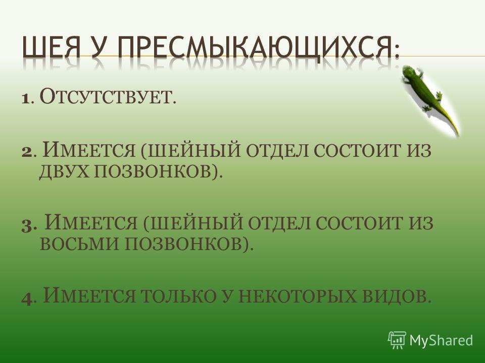 1. О ТСУТСТВУЕТ. 2. И МЕЕТСЯ (ШЕЙНЫЙ ОТДЕЛ СОСТОИТ ИЗ ДВУХ ПОЗВОНКОВ). 3. И МЕЕТСЯ (ШЕЙНЫЙ ОТДЕЛ СОСТОИТ ИЗ ВОСЬМИ ПОЗВОНКОВ). 4. И МЕЕТСЯ ТОЛЬКО У НЕКОТОРЫХ ВИДОВ.