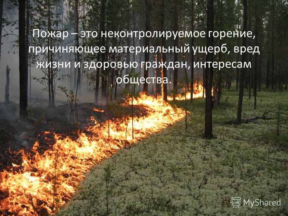 Пожар – это неконтролируемое горение, причиняющее материальный ущерб, вред жизни и здоровью граждан, интересам общества.