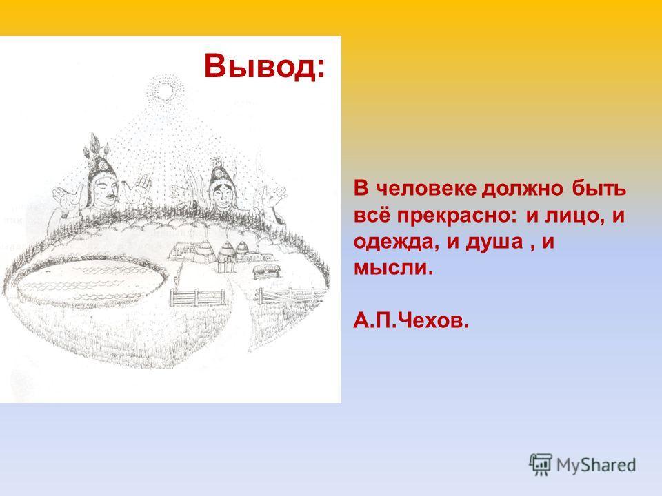 В человеке должно быть всё прекрасно: и лицо, и одежда, и душа, и мысли. А.П.Чехов. Вывод: