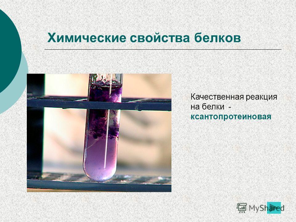 Химические свойства белков Качественная реакция на белки - ксантопротеиновая