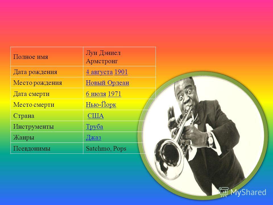 Полное имя Луи Дэниел Армстронг Дата рождения4 августа4 августа 19011901 Место рожденияНовый Орлеан Дата смерти6 июля6 июля 19711971 Место смертиНью-Йорк Страна США ИнструментыТруба ЖанрыДжаз ПсевдонимыSatchmo, Pops