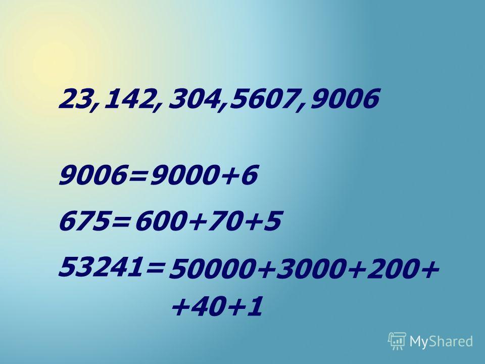 23,142,9006304,5607, 9006= 675= 53241= 9000+6 600+70+5 50000+3000+200+ +40+1
