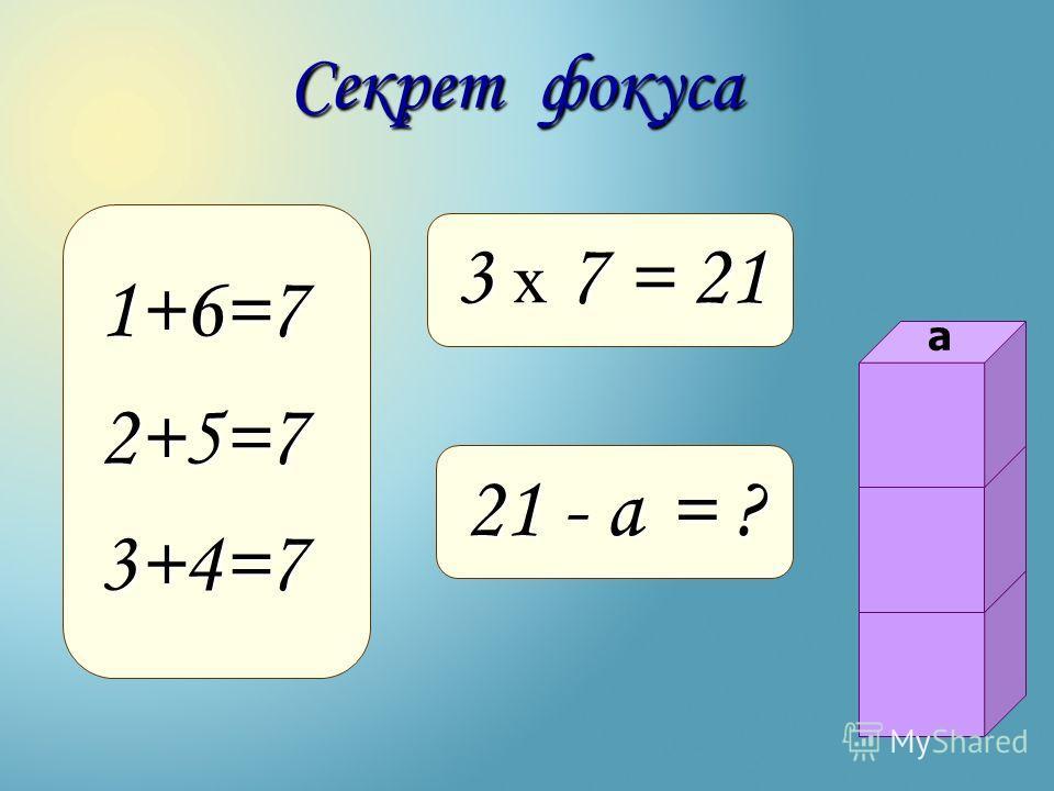 1+6=72+5=73+4=7 Секрет фокуса 3 х 7 = 21 21 - а = ? а