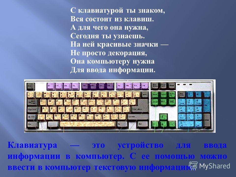 С клавиатурой ты знаком, Вся состоит из клавиш. А для чего она нужна, Сегодня ты узнаешь. На ней красивые значки Не просто декорация, Она компьютеру нужна Для ввода информации. Клавиатура это устройство для ввода информации в компьютер. С ее помощью