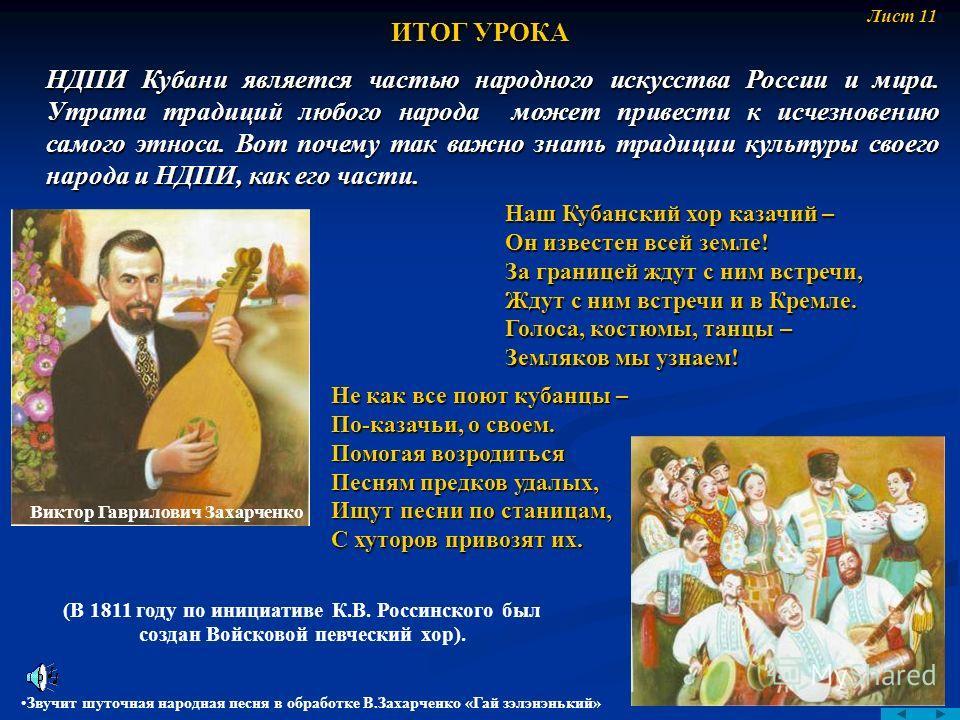 НДПИ Кубани является частью народного искусства России и мира. Утрата традиций любого народа может привести к исчезновению самого этноса. Вот почему так важно знать традиции культуры своего народа и НДПИ, как его части. ИТОГ УРОКА Звучит шуточная нар
