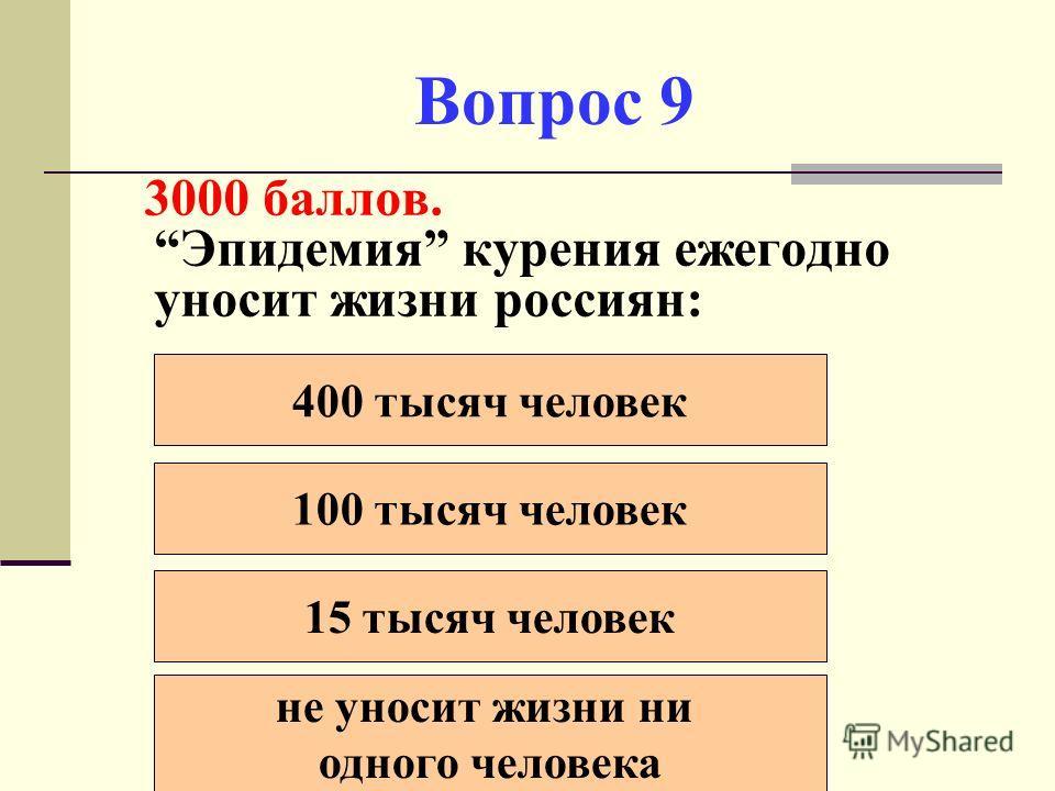 Вопрос 9 3000 баллов. Эпидемия курения ежегодно уносит жизни россиян: 400 тысяч человек 100 тысяч человек 15 тысяч человек не уносит жизни ни одного человека