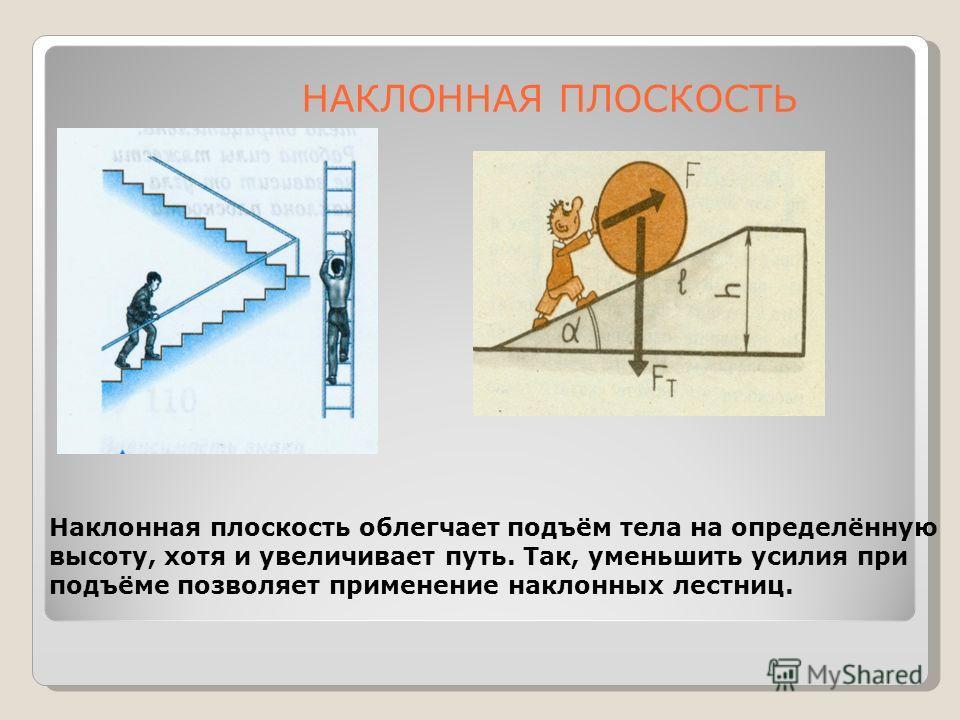 Наклонная плоскость облегчает подъём тела на определённую высоту, хотя и увеличивает путь. Так, уменьшить усилия при подъёме позволяет применение наклонных лестниц. НАКЛОННАЯ ПЛОСКОСТЬ