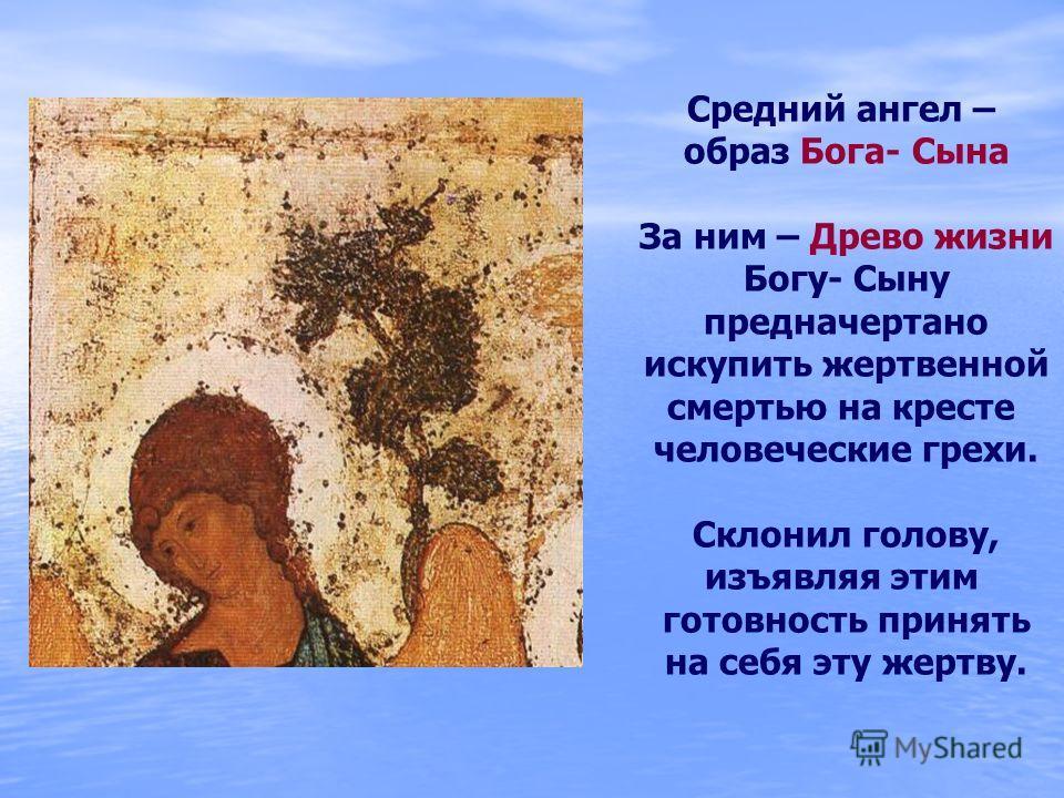 Средний ангел – образ Бога- Сына За ним – Древо жизни Богу- Сыну предначертано искупить жертвенной смертью на кресте человеческие грехи. Склонил голову, изъявляя этим готовность принять на себя эту жертву.