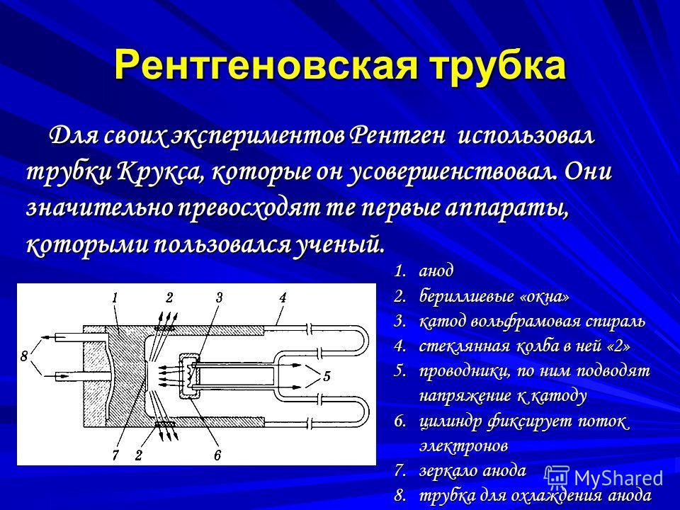 Рентгеновская трубка Для своих экспериментов Рентген использовал трубки Крукса, которые он усовершенствовал. Они значительно превосходят те первые аппараты, которыми пользовался ученый. Для своих экспериментов Рентген использовал трубки Крукса, котор