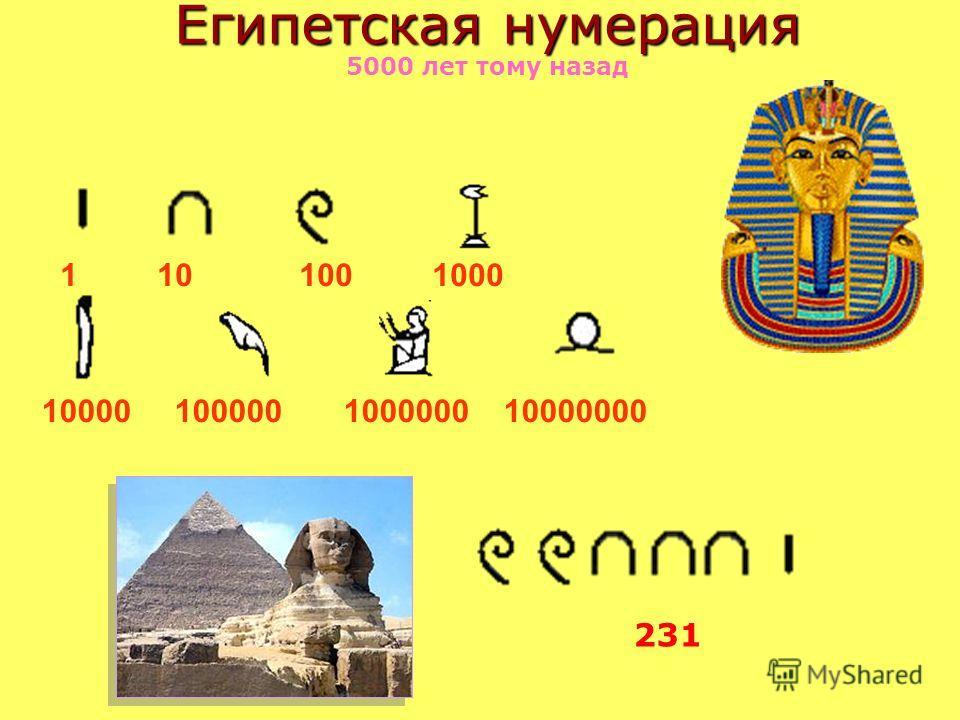 Египетская нумерация Египетская нумерация 5000 лет тому назад 1 10 100 1000 10000 100000 1000000 10000000 231