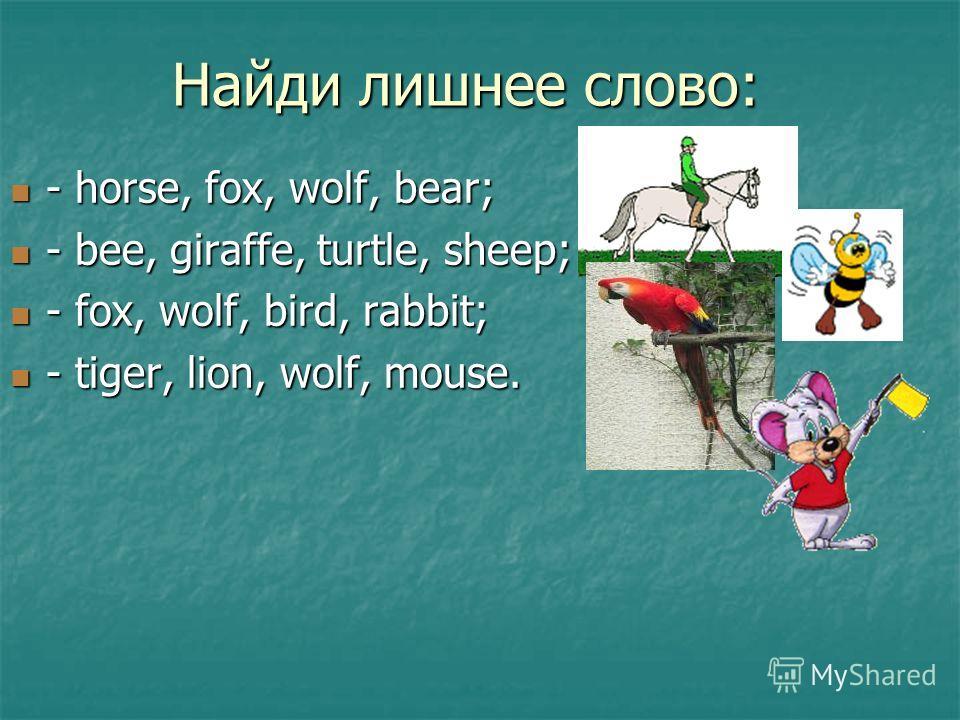 Найди лишнее слово: - horse, fox, wolf, bear; - horse, fox, wolf, bear; - bee, giraffe, turtle, sheep; - bee, giraffe, turtle, sheep; - fox, wolf, bird, rabbit; - fox, wolf, bird, rabbit; - tiger, lion, wolf, mouse. - tiger, lion, wolf, mouse.