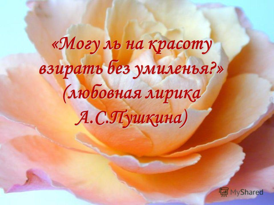 «Могу ль на красоту взирать без умиленья?» (любовная лирика А.С.Пушкина)